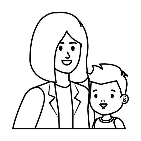 young mother with little son characters vector illustration design Standard-Bild - 130602770