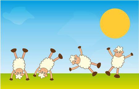 handstand sheep over landscape background. vector Illustration