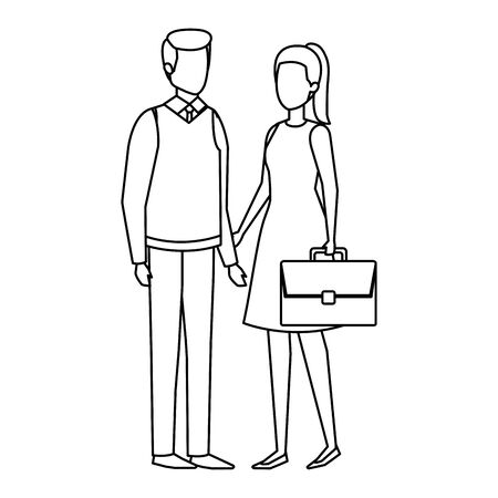 business couple with portfolio vector illustration design Illustration