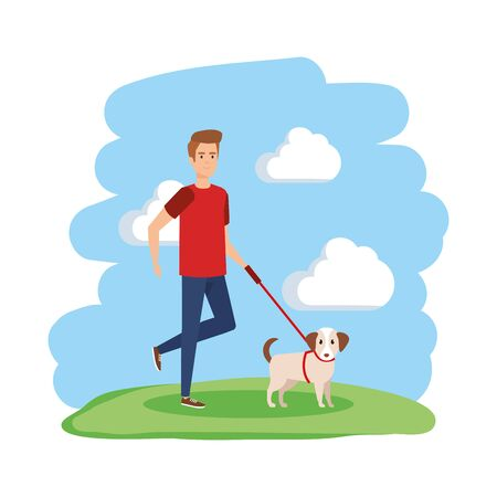young man walking with dog vector illustration design Иллюстрация