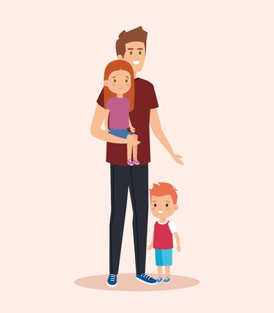 cute man carrying his daughter and son vector illustration Standard-Bild - 130606968