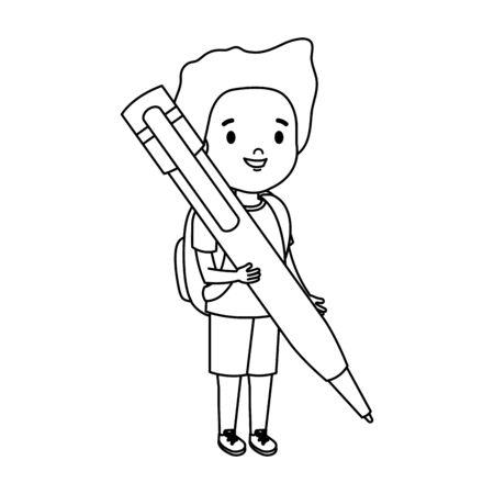 little boy student with pen vector illustration design