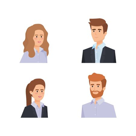 set professional elegant businesspeople executive with hairstyle vector illustration