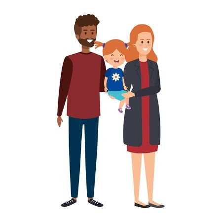 interracial parents couple with daughter characters vector illustration Stock Illustratie