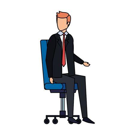elegant businessman sitting in office chair vector illustration design Illustration