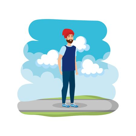 young man with ski mask in the road vector illustration design