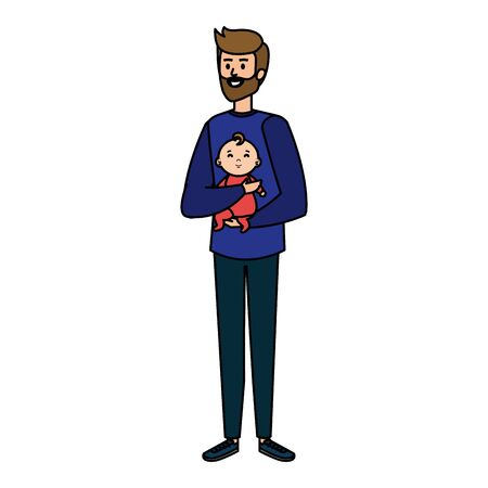 young father with baby characters vector illustration design