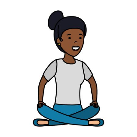 young black woman in lotus position vector illustration design