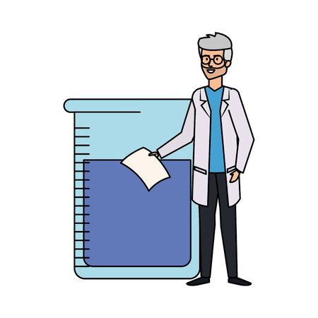 professional doctor with test flask avatar character vector illustration design