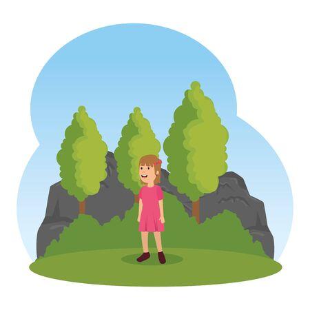 little girl kid character in the landscape vector illustration design Ilustração
