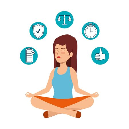 beautiful woman practicing yoga with set icons vector illustration design