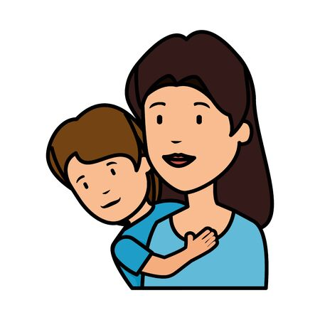 beautiful mother lifting son vector illustration design Stock Illustratie