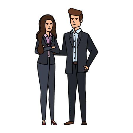 business couple avatars characters vector illustration design 向量圖像