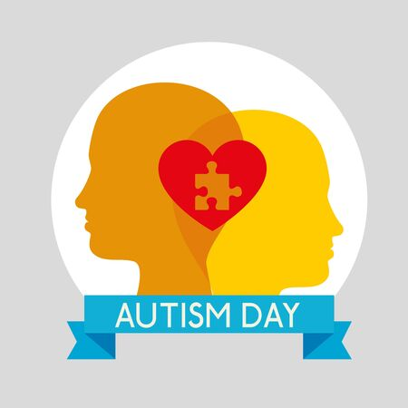 kids silhouette with puzzle inside heart to autism day vector illustration Stock Illustratie