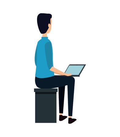 elegant young businessman seated using laptop vector illustration design