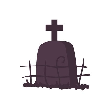 halloween tomb of cemetery isolated icon vector illustration design Banque d'images - 130745495