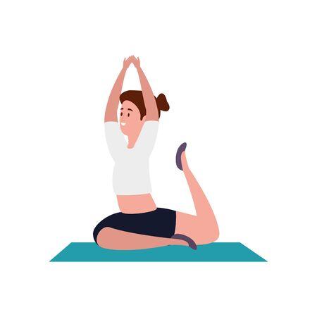 beauty woman practicing pilates position in mattress vector illustration design Иллюстрация