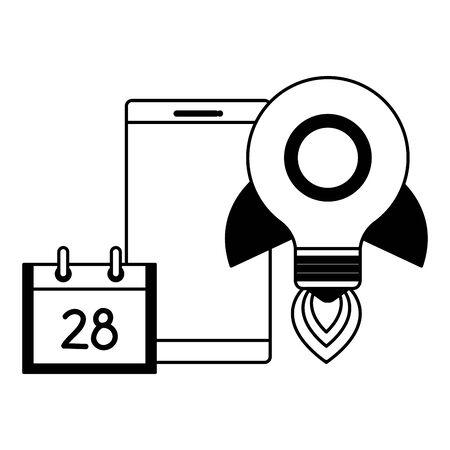 smartphone with rocket bulb and calendar vector illustration design Stock Illustratie