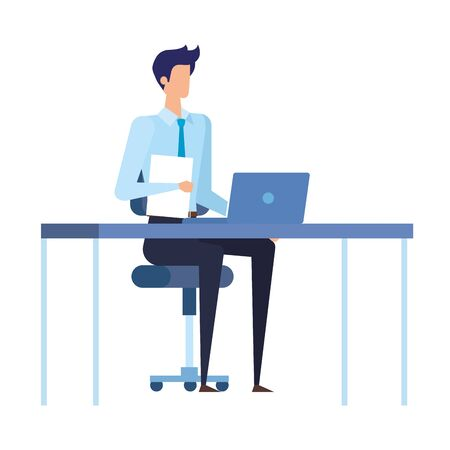 elegant businessman worker in the office scene vector illustration design