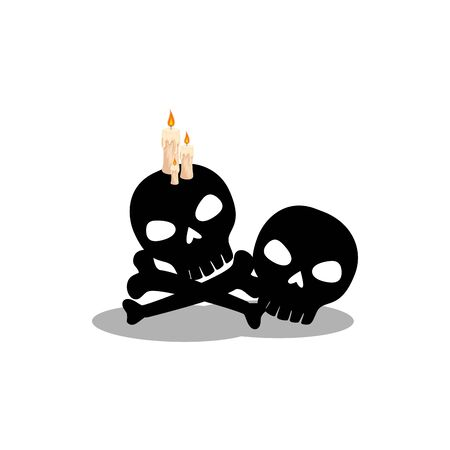 skulls dead of halloween with candles vector illustration design