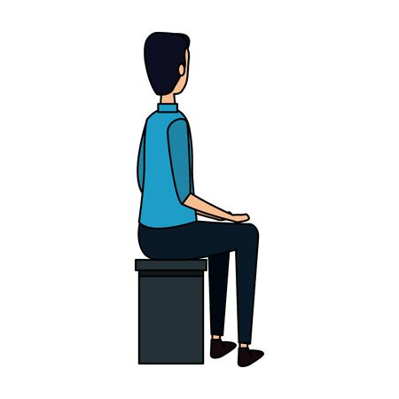 elegant businessman worker seated in bench vector illustration design