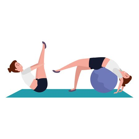 beauty girls practicing pilates with balloon in mattress vector illustration design Иллюстрация