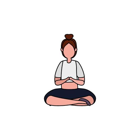 beauty woman practicing pilates with lotus position vector illustration design Illustration