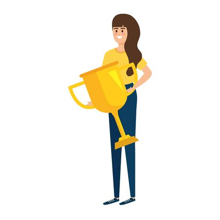 young woman lifting trophy cup award vector illustration design Stockfoto - 130798079