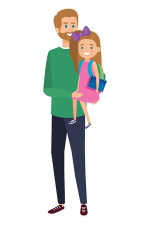 happy student girl with male teacher vector illustration design Ilustração