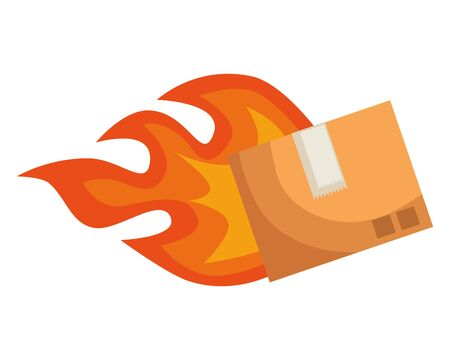 box carton packing with flame delivery service vector illustration design