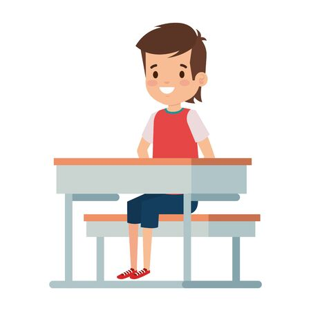 happy student boy seated in school desk vector illustration design