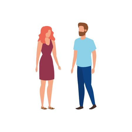 young lovers couple avatars characters vector illustration design Illustration