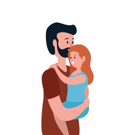 father with daughter family characters vector illustration design
