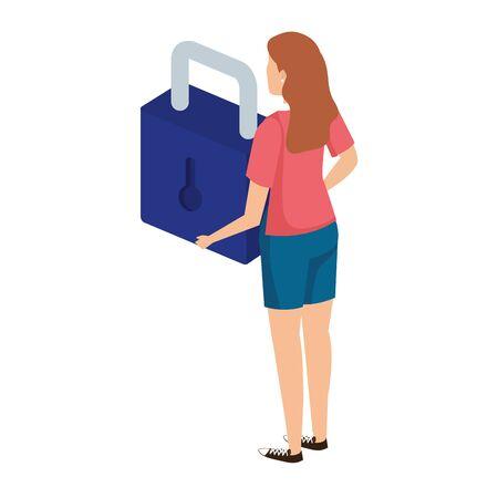 woman lifting safe secure padlock vector illustration design Illustration