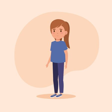 girl child with hairstyle and casual clothes over pink background, vector illustration Çizim