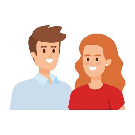 business couple avatars characters vector illustration design Çizim