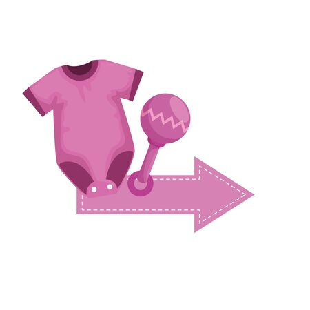 baby shower card with clothes vector illustration design Illustration