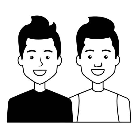 young men friends with urban style characters vector illustration design
