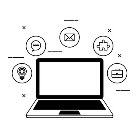 laptop with social media marketing icons vector illustration design