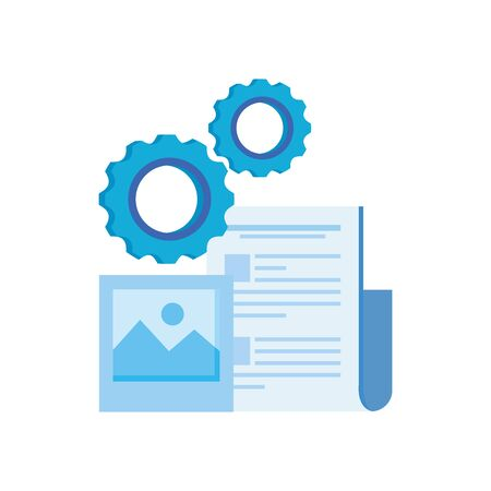 gear machine settings with document file vector illustration design Banco de Imagens - 130818917