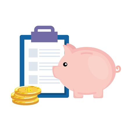 piggy savings with coins money and checklist vector illustration design
