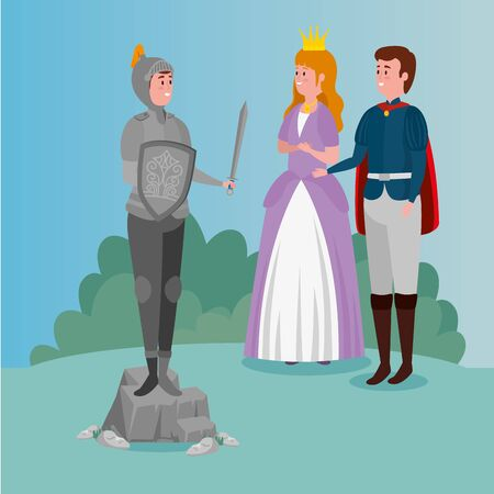 princess with prince and knight with armor in scene fairytale vector illustration design