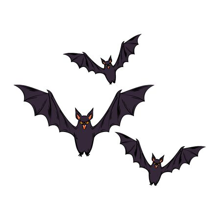 bats flying halloween style pop art vector illustration design