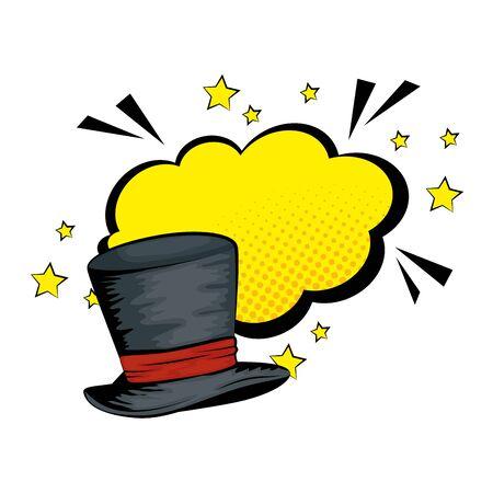 hat top wizard with cloud style pop art vector illustration design