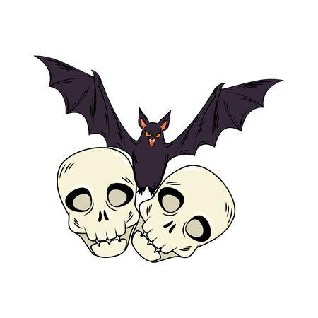 skulls halloween with bat flying style pop art vector illustration design Standard-Bild - 132559187