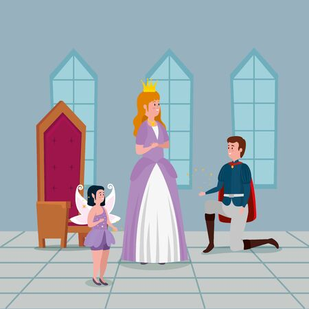 princess with prince in indoor castle vector illustration design Standard-Bild - 132559188