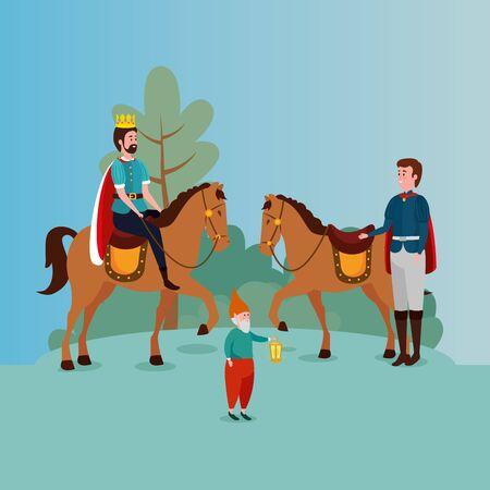king with prince in scene fairytale vector illustration design Standard-Bild - 132559190