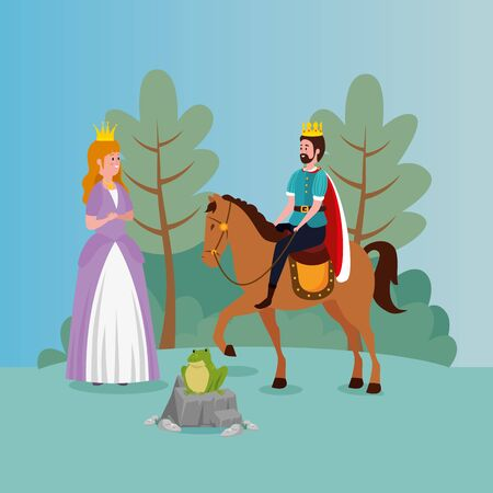 princess with king and toad in scene fairytale vector illustration design Standard-Bild - 132559191
