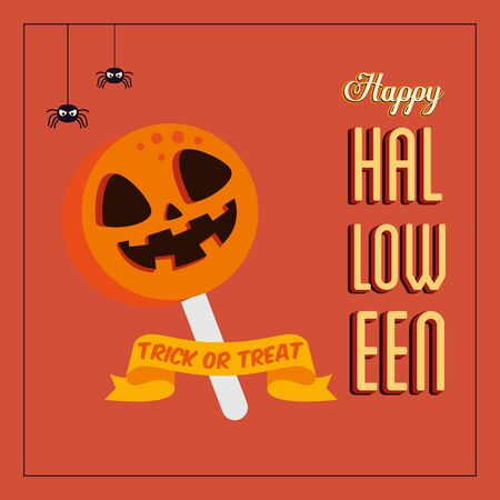 poster of happy halloween with candy and spiders vector illustration design Иллюстрация