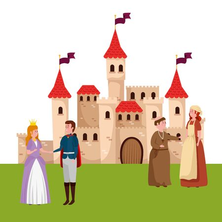characters of fairytale with castle vector illustration design Standard-Bild - 132559194